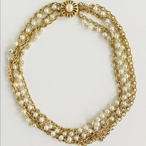 Vintage glass pearl + brass chain layered necklace